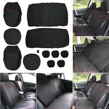 New Universal 11PCS Car Seat Cover Front Seat Bench Seat Covers Wheel Cover Set Black + Red Edge Car Decoration black coffee beige yellow red brand luxury car leather seat cover front