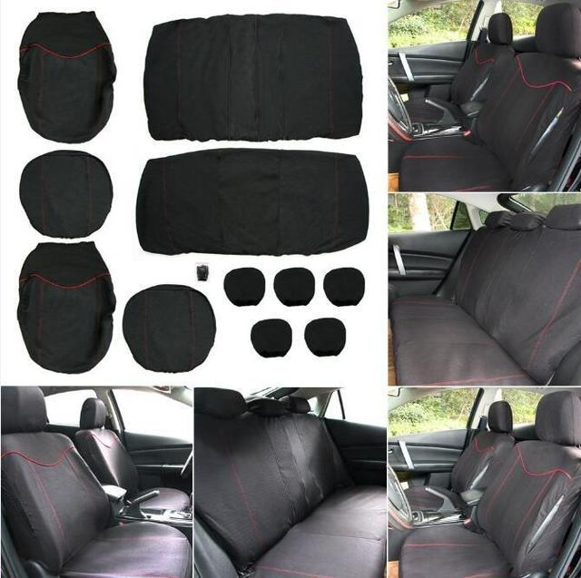 New Universal 11PCS Car Seat Cover Front Bench Covers Wheel Set Black