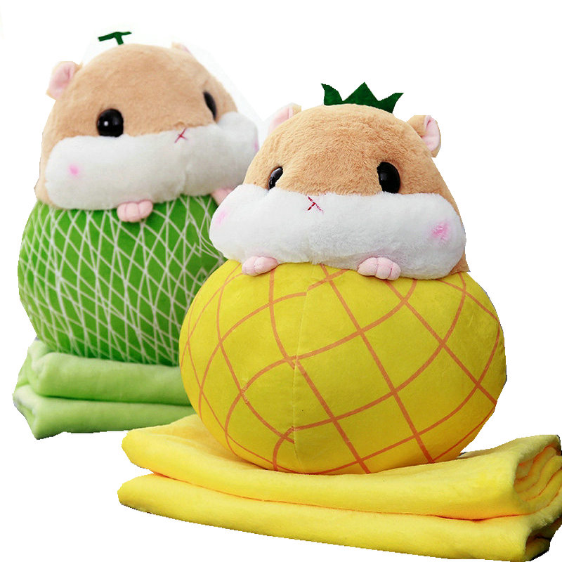 55cm Blanket in Pillow 2 in 1 Cute Stuffed Hamster in Fruits Children Nap Time Necessary In School Cartoon Plush Animals in