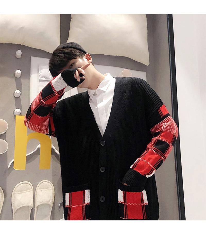 Korean Oversized Sweater Cardigan Men Plaid (22)