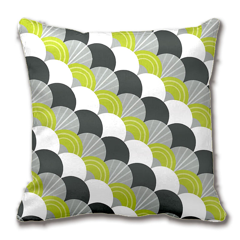 Fancy Throw Pillow Patterns : Modern Scallop Fan Pattern Charcoal Grey Green Throw Pillow Decorative Cushion Cover Pillow Case ...