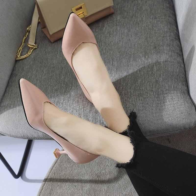 5 CM mèo với đế giày đơn nữ 2019 mùa xuân và mùa thu dẹt cao cấp chuyên nghiệp chỉ nữ giày