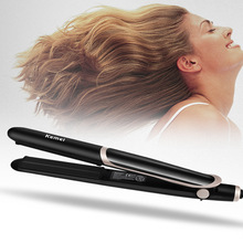 KM-2219 Professional Hair Straightener Curler Hair Tourmaline Ceramic Thermostatic Straighting Curling Iron LED Display 32mm ceramic anion hair curler comb hairbrush lcd curling straighting straightener brush roller iron fashion styling tools s34