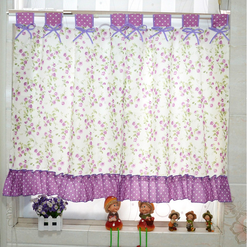 Kitchen Curtain Material: New Arrival Purple Floral Pastrol Kitchen Curtain Fabric