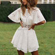 Cuerly sexy white cotton crochet hollow out dress women flare sleeve cotton embroidery mini dress 2019 summer day dress L5 3 4 sleeve crochet flare dress