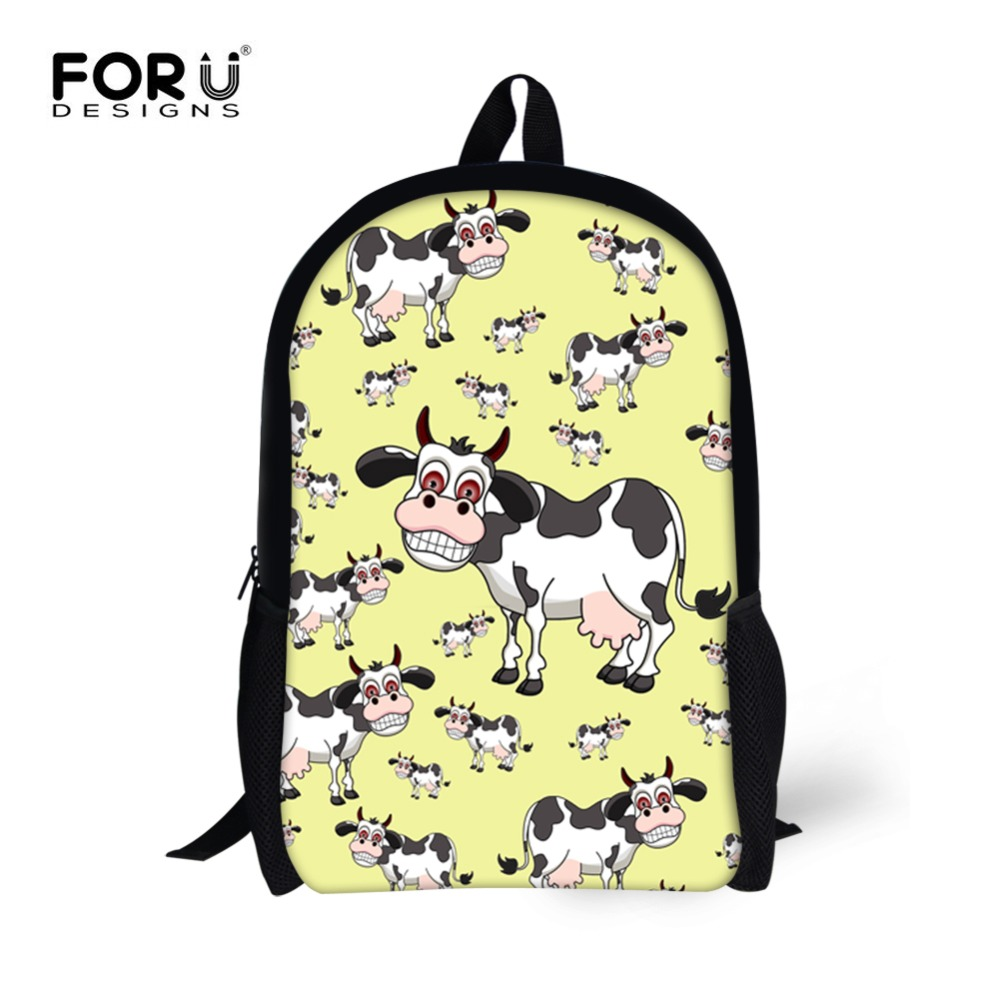 FORUDESIGNS Polyester Children School Bags Backpack for Boys Girls Students Book Bag Cute Cow Dogs Printed Teenager Notebook Bag