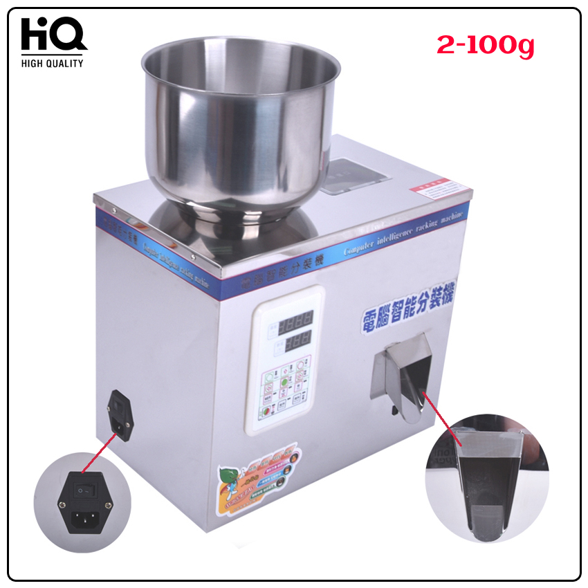2-100g tea Packing machine grain filling machine granule medlar automatic salt weighing machine powder seedfiller 110V/22V  stainless steel granule weighing filling machine with feeder