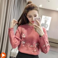 2017 nouveau manteau d'hiver chandail femmes brodé prune à manches longues Col Roulé Chandail Chemise Veste Taille