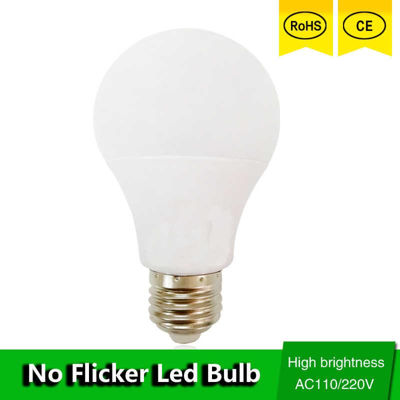 LED מנורת E27 LED הנורה אור B22 3W 5W 7W 9W 12W 15W 110v 220V אמיתי ואט SMD2835 אלומיניום קירור גבוהה בהיר Lampada LED אורות