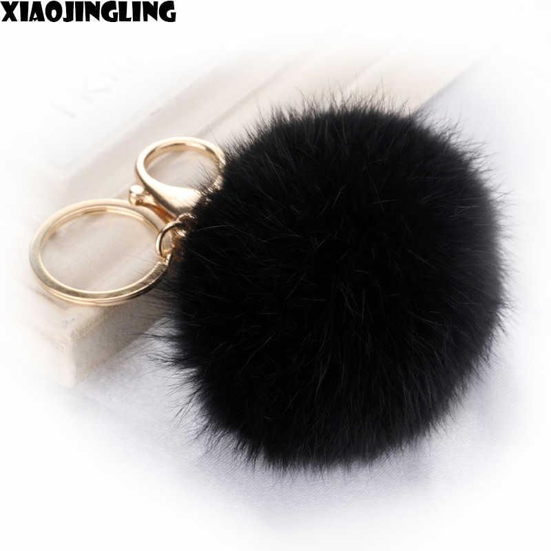 XIAOJINGLING Real Rabbit Fur Ball Keychain For Women Jewelry Gift Black Key  Ring Holder Rabbit Fur b8825895de