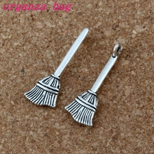 Broom Halloween Witch Pendant 100Pcs/lot Hot sell Antique Silver alloy Jewelry DIY 10 * 28mm 1.2g A-198