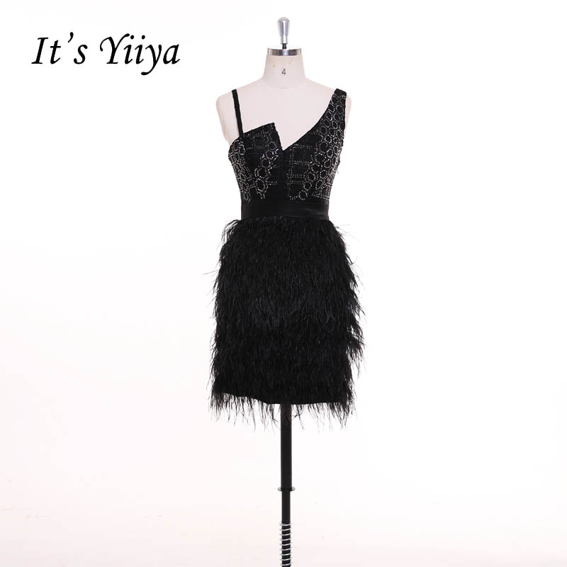 It's YiiYa Little Black Dress Beading Sexy Feathers Backless Zipper Cocktail Dresses Short Stain Party Dress Custom Made F019