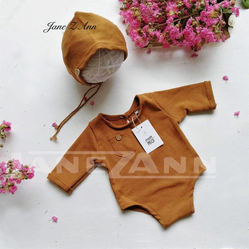 Jane Z Ann Newborn Photography Outfits Baby solid color Hat bodysuit Set Infant Photo shoot Props Newborn Photography Clothes