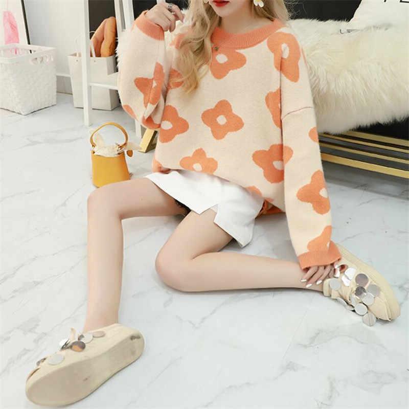 2019 donne maglione casuale del manicotto pieno o collo stampato floreale caldo morbido autunno inverno femminile pullover a maglia spessa