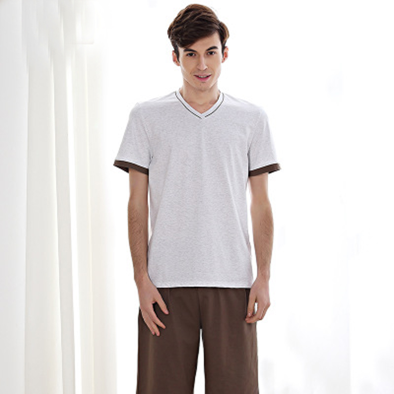 100% Cotton Summer Men's Pajamas Short Sleeve Home Clothing O-neck Strip Men Night Sleepwear Men's Sleepwear