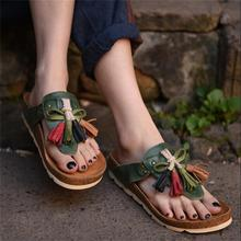 Tassel . unique handmade genuine leather slippers cowhide low heels comfortable flip-flop women slippers 1388-4