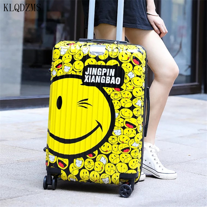 KLQDZMS 20/24Inch Fashion Smiley Pattern Design Rolling Suitcase   Travel Luggage Spinner ABS+PC Carry-Ons