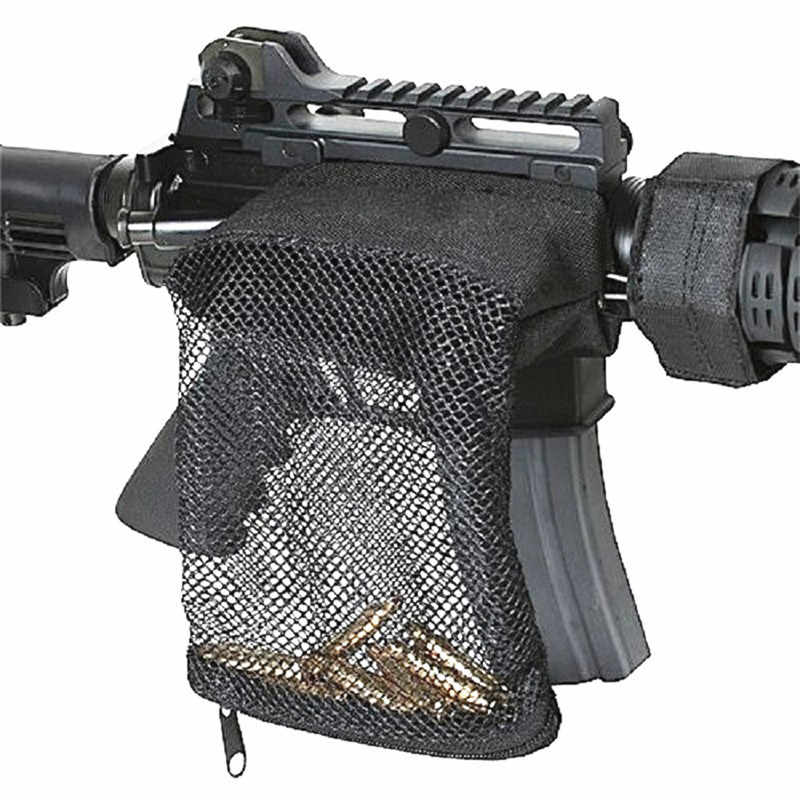 Tactical Rifle Messing Catcher voor AR-15 M4 Quick Lossen Nylon Mesh Ritssluiting voor 20mm Rail Mount Cartridge Shell pouch