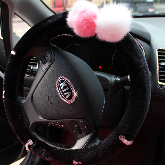 Black Short Floss Natural Stones Winter Steering Wheel Cover Car Interior Accessories For Girls