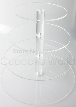 4 Tiers Round Assembled Acrylic Cupcake Display Stand Plexiglass Cupcake Stand