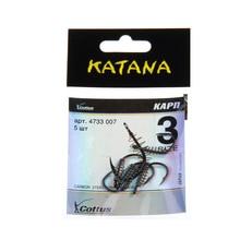 FISH KING  50pcs/lot KATANA Cottus Size3-Size12 Carbon Steel Fishing Hook With Spring Barbed Hook Carp Feeder  Fishing Tackle