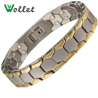2017Wollet Fashion Jewelry Healing Energy Magnet Gold Color Magnetic Pure Titanium Bracelet Bangle For Men