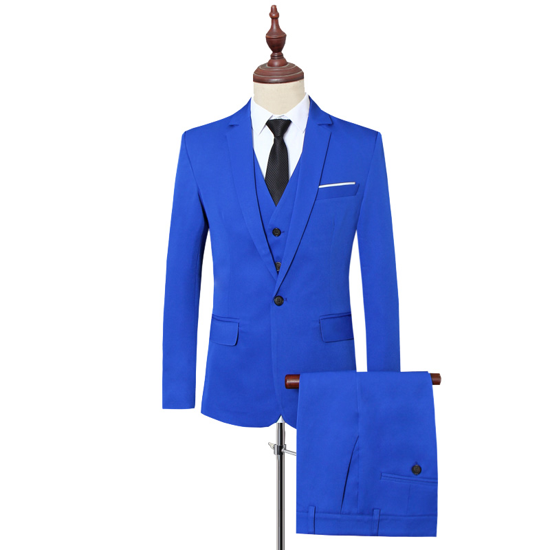 Klassische Formale Kleid Männer Anzug Jacken + Weste + Hosen Mode Freizeit Herren 3 Stück Anzug Größe S 6XL Hochzeit Anzüge für Mann Schwarz - 2
