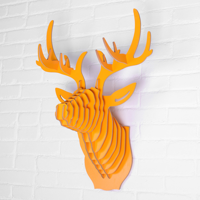Great Wooden Deer Head For Wall Decoration Creative Nordic Style Wood Animal Head  Wall Hanging Carvings 3D