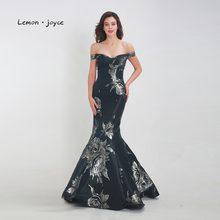 cb9c75efbea Lemon joyce noir robes de soirée longue 2019 formelle hors de l épaule  Simple sirène étage longueur de bal robes de soirée grand.
