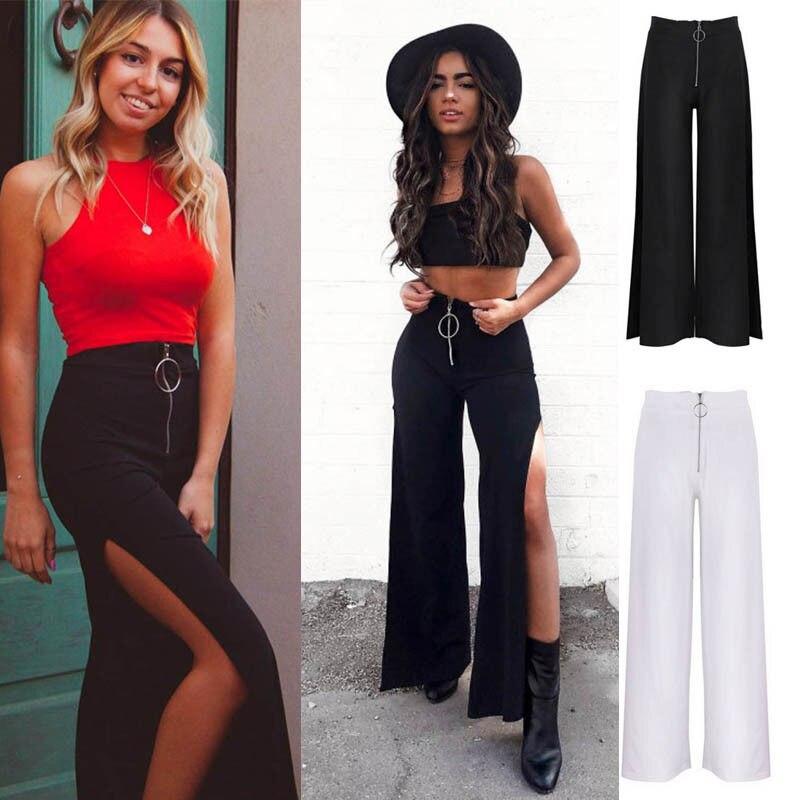 Fashion Women Summer High Waist   Wide     Leg   Trouser Casual Zip Loose Long   Wide     Leg     Pants