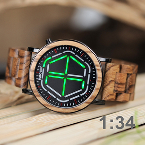 Image 4 - BOBO BIRD Wood Digital Watch Men erkek kol saati Night Vision Wooden Watches LED Time Display relogio masculino in Wood Gift Box