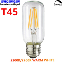 15W 25W 35W Equal 220V 230V 240V Dimmable T45 E27 LED Filament Tubular Edison Light Bulb Ampoule 2W 4W 6W Bombilla De Filamento