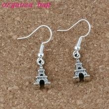 Eiffel Tower Earrings Silver Fish Ear Hook 30pairs/lot Antique Chandelier Jewelry 8x32mm A-220e