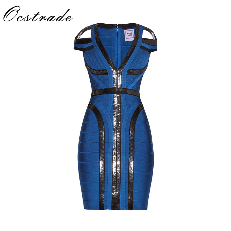 Ocstrade 2017 Summer Women Sequin Bandage Dress Mini Sexy Hollow Out Deep V Neck Bodycon Celebrity Party Bandage Dresses Blue