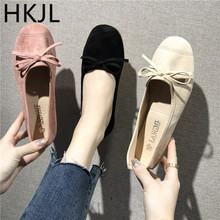 HKJL 2019 spring and summer new Korean womens shoes shallow mouth bow single ballet flat peas A715