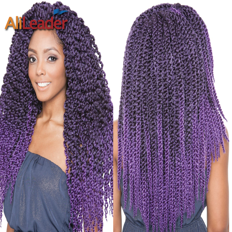 Sale Ombre Purple Crochet Braids Hair 22 3D Split Cubic Twist Crochet ...