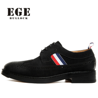EGE Brand Men Oxfords New Arrival British Style Genuine Leather Male Flats Bullock Pointed Toe Handmade