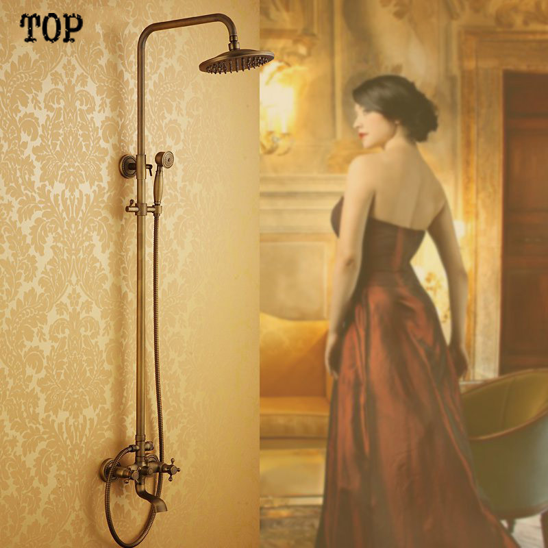 High quality antique bathroom shower set include 8 inch brass shower head and hand showerHigh quality antique bathroom shower set include 8 inch brass shower head and hand shower