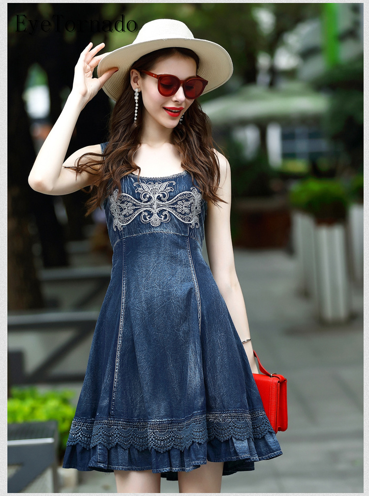 2016 font b Women b font Summer Palace Flower Embroidery Blue Lace Patchwork Casual Work Beach