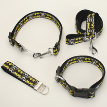 New single sell Dog Leash, Dog Collar, Safety Belt,Key Fob ,1 inch wave background batman pattern printed ribbon(China)