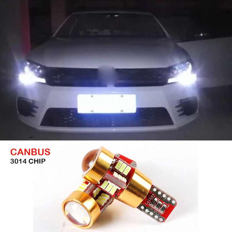2x Car T10 Canbus W5W SMD 3014 27 LED Wedge Parking Light Clearance Lights For VW Polo Golf 5 6 7 GTI Passat B5 B6 Jetta MK5 MK6 deechooll 2pcs wedge light for mazda 2 3 5 6 mx5 rx8 cx7 626 gf gg ge gw canbus t10 57smd 6w led clearance xenon lighting bulbs