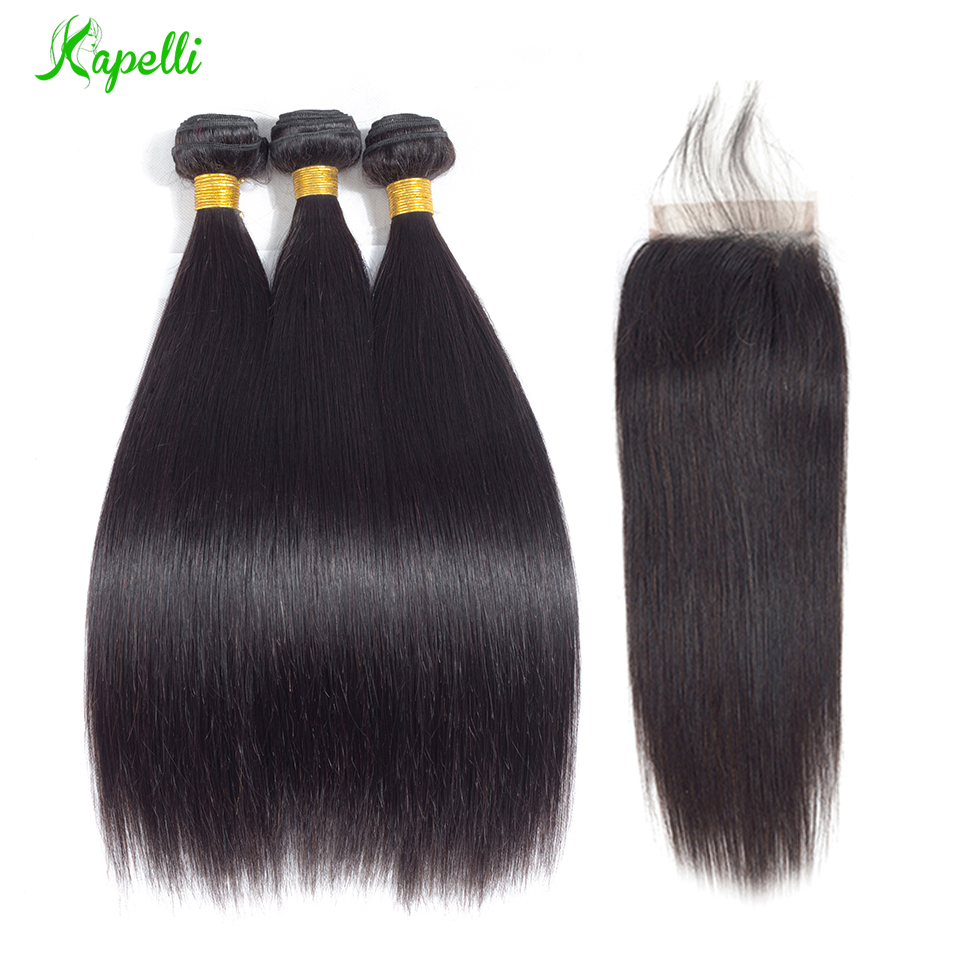 Straight Hair Bundles With Closure Remy Human Hair 3 Bundles With Closure Malaysian Hair Bundles With Closure 4*4 Free Shipping