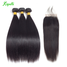 hot deal buy  straight hair bundles with closure remy human hair 3 bundles with closure malaysian hair bundles with closure 4*4 free shipping