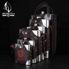 18 48 64 88 108 128 178oz Big Capacity Military Stainless Steel Hip Flask CCCP Whiskey Flask With Removable Leather Holster