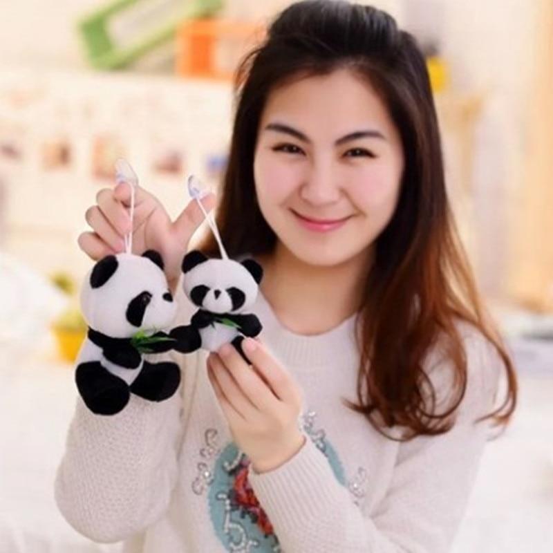Hot Sale! Panda Pussel Toy Mini Storlek Panda Doll 9cm Storlek 30st / lot Panda Hängsmycke Mjuk Stuffad Toy