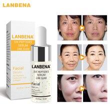 лучшая цена LANBENA Pure 24K Gold Serum Hyaluronic Acid Collagen Essence Whitening Moisturizing Anti Aging Day Cream Anti Wrinkle Face Care