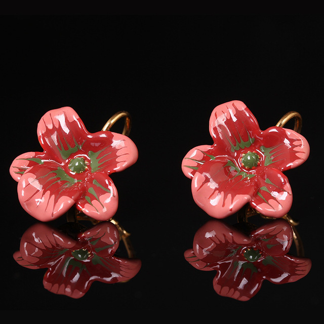 European New Arrivals Gold-plated Jewelry Flower  Enamel Glaze Earring Woman Prevent allergy Earring Free Shipping