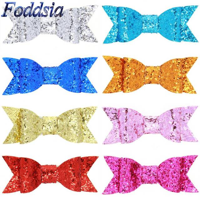 Foddsia 8pcs/lot 4 Inch Baby Sequin Bow Hairpins Hair Clip Girls Hair Accessories Children Party Apparel Accessory Headwear CH45