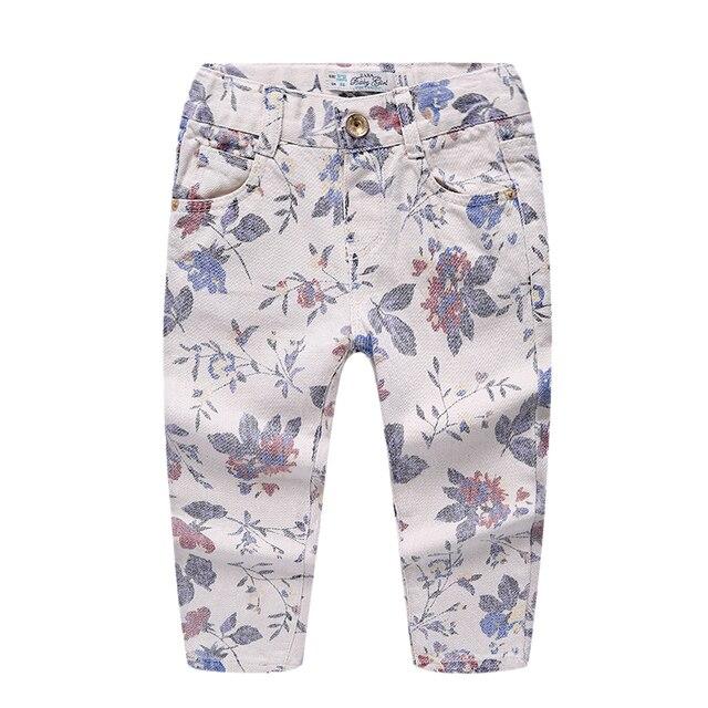 Новые Прибытия моды новорожденных девочек одежда Печать дети цветов белые джинсы девушки леггинсы демин брюки Эластичный Пояс детские брюки