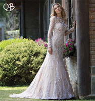 Vestido de Noiva 2019 New Wedding Dresses Mermaid Long Sleeve Lace Tulle Appliques Beading Formal Sexy Wedding Gown SF32